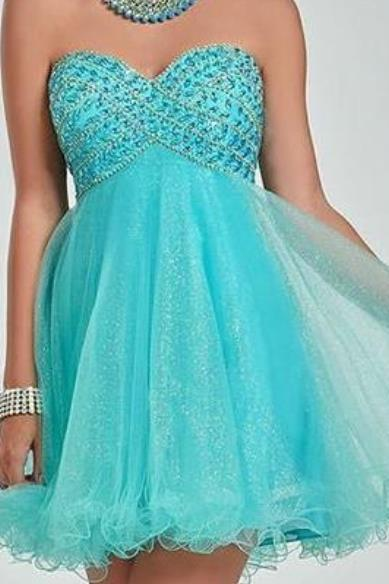 Mint Sweetheart Tulle Beaded Homecoming Dress