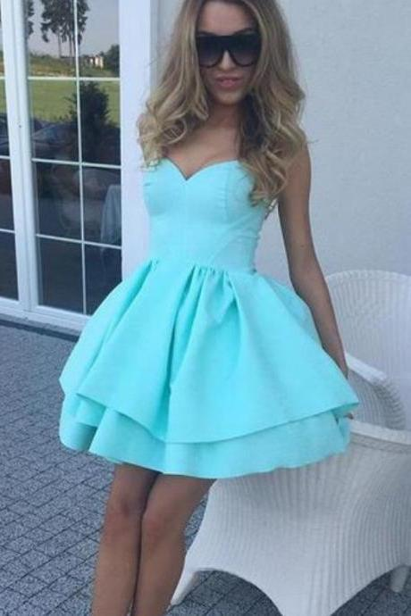 Mint Sweetheart Simple Homecoming Dresses