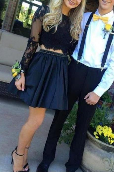 Black Lace Two Piece Beaded Homecoming Dress