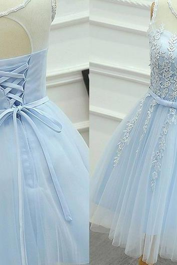 Baby Blue Chiffon Strapless Homehoming Dress