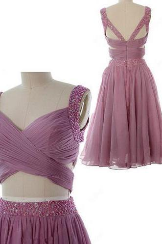 Pink Chiffon Two Pieces Homehoming Dress, Long Open Back Homehoming Dress