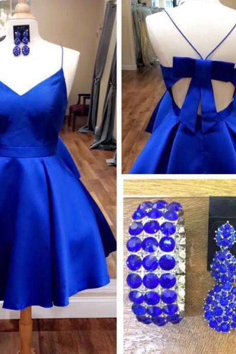 Royal Blue Bow Back Short Homecoming Dress Cute