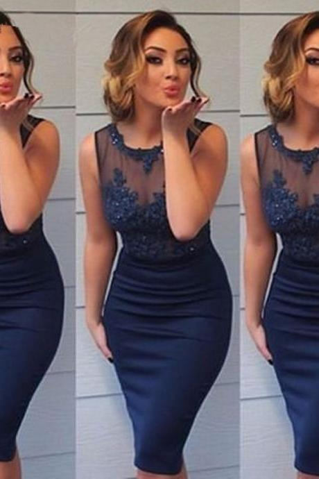 Navy Blue Tulle Appliques Beaded Cocktail Dresses, Straight Short Sheer Tank Sexy Party Dresses