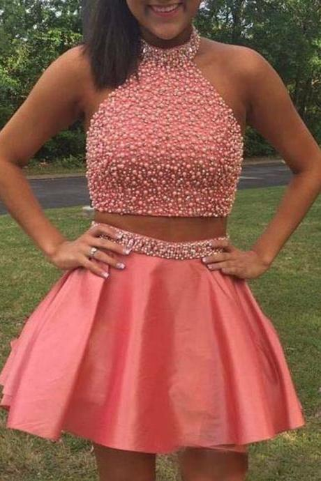 Halter Pearls Beaded Glitter Coral Two Pieces Homecoming Dresses ,Satin Open Back Short Cocktail Dress