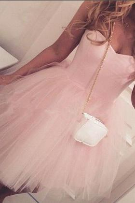 Pink Tulle Sweetheart Homecoming Dress