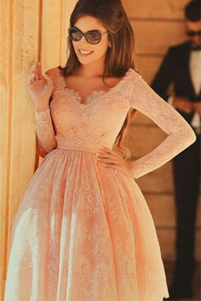 Pink Lace Beaded Homecoming Dress, Long Sleeve Homecoming Dresses