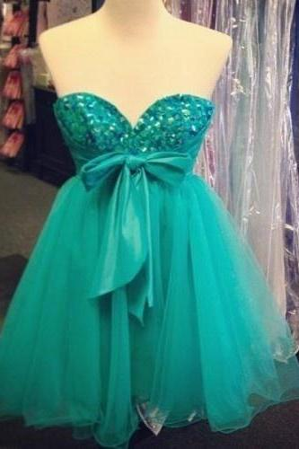 Mint Chiffon Crystal Homecoming Dress,Sweetheart Bowknot Homecoming Dress