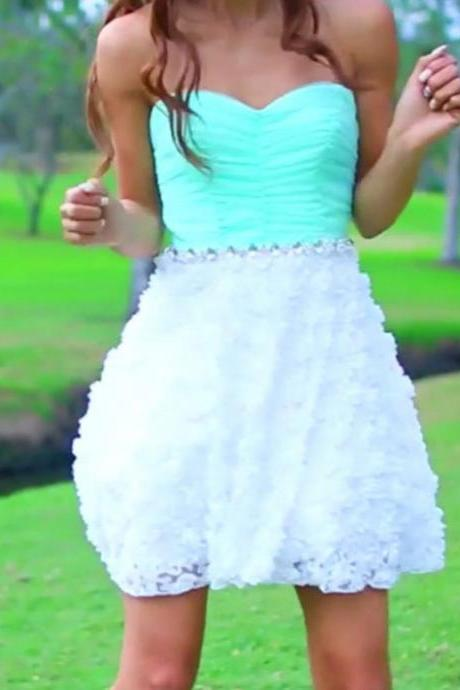 Mint Lace Mini Homecoming Dress,Strapless Sweetheart Homecoming Dress
