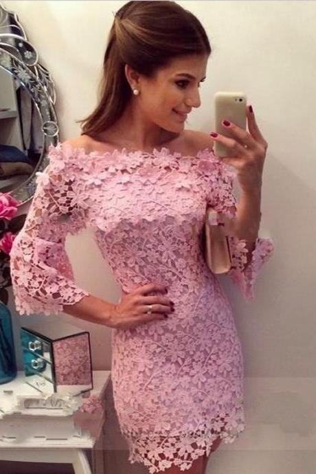 Baby Pink Lace Scoop Homecoming Dress,Neck Long Sleeve Short Homecoming Dress