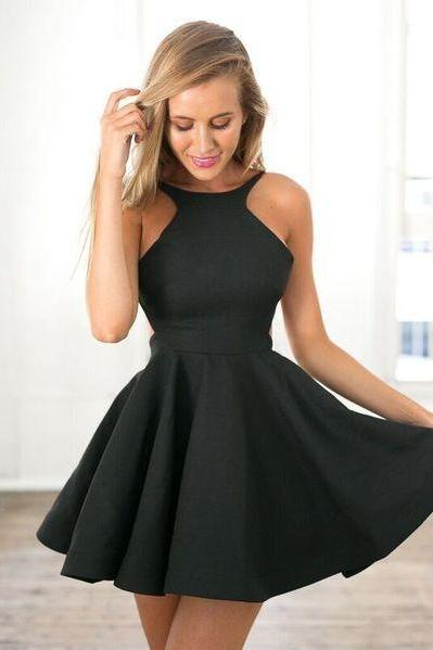 Black A Line Halter Simple Dress, Short Sexy Homecoming Dress