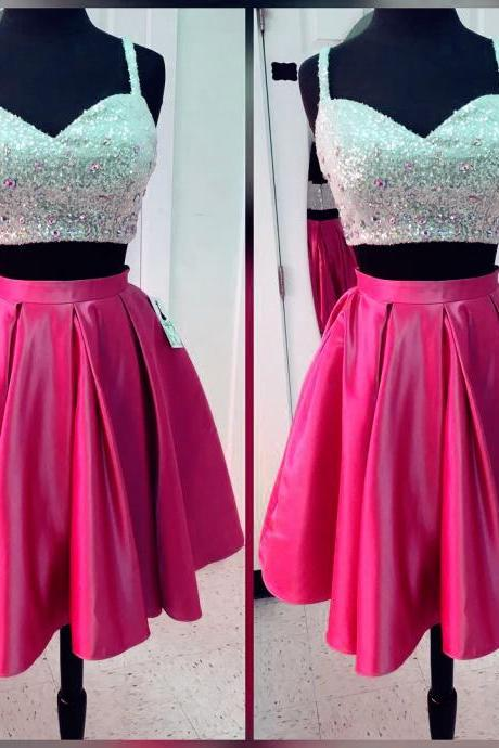 Pink Sequins Crystal V Neck Homecoming Dress, Two Pieces Sexy Short Homecoming Dresses