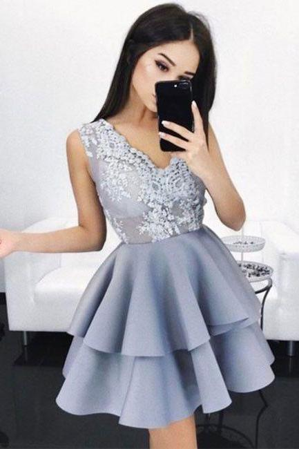 Gray Lace V Neck Homecoming Dress, A Line Strapless Homecoming Dress 2017