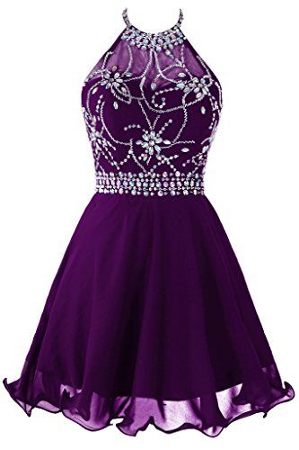 Purple Beaded Embellished Halter Neck Short Chiffon Homecoming Dress