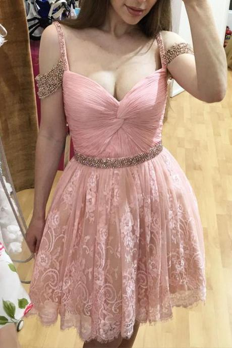 Baby Pink V Neck Beads Homecoming Dress, Lace Sexy Short Homecoming Dress