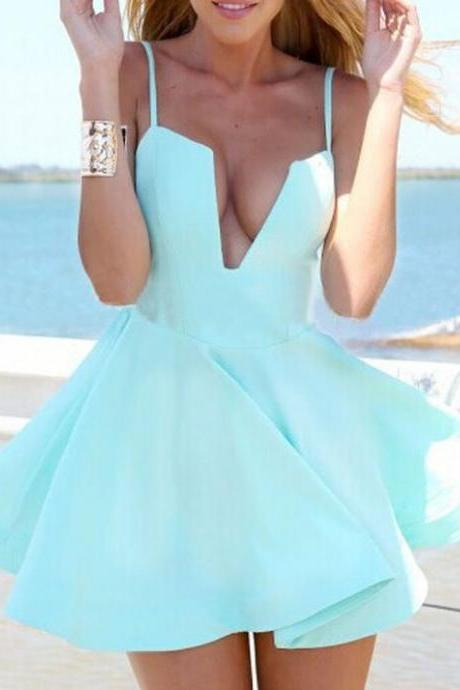 Mint Deep V Neck Homecoming Dress,Strapless Short Summer Homecoming Dress