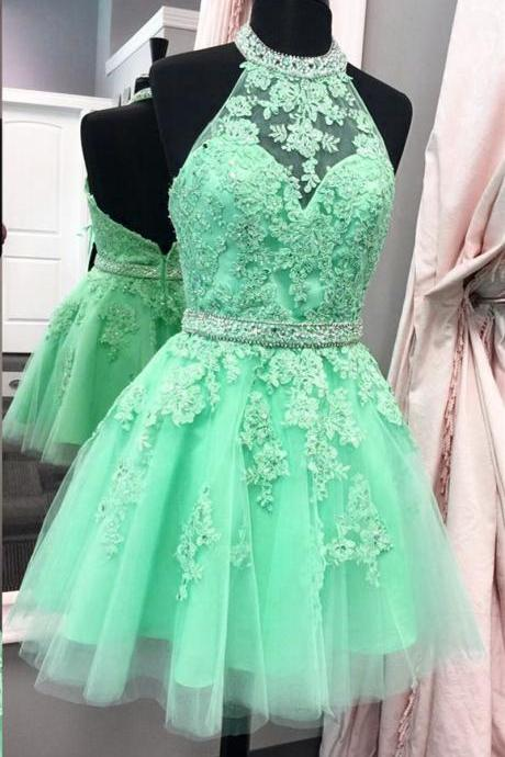 Mint Backless Beads Halter Tulle Short Sexy Homecoming Dress