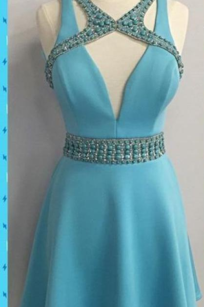 Blue Deep V Neck Beads Homecoming Dress,Strapless Sexy Short Homecoming Dress