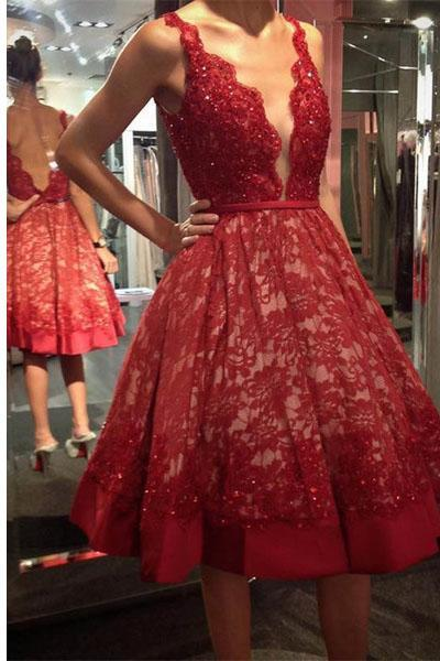 Red Lace Beaded Homecoming Dress, Deep V Neck Sexy Homecoming Dress