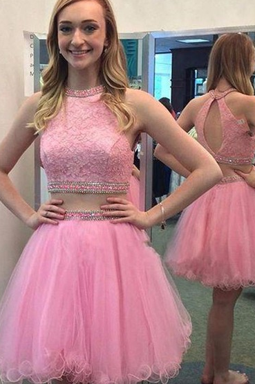Lace Tulle A-line Scoop Neck Homecoming Dress,Short Mini Two Piece Pretty Homecoming Dresses