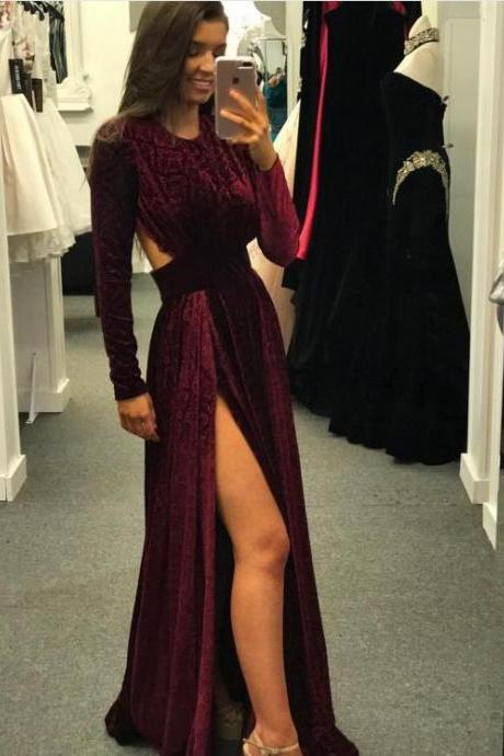 Burgundy Long Sleeves Velvet Prom Dress, Burgundy Velvet Evening Dress