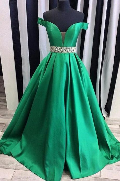 Long Satin Green Off Shoulder Prom Dress, Off Shoulder Green Evening Dresses