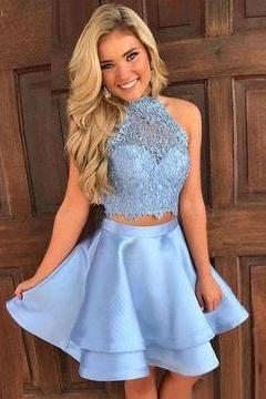 Blue Halter Sleeveless Two Piece short Homecoming Dresses