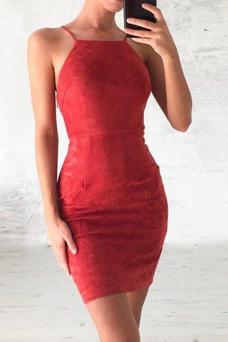 Red Straps Mini Short Bodycon Beadings Homecoming Dresses
