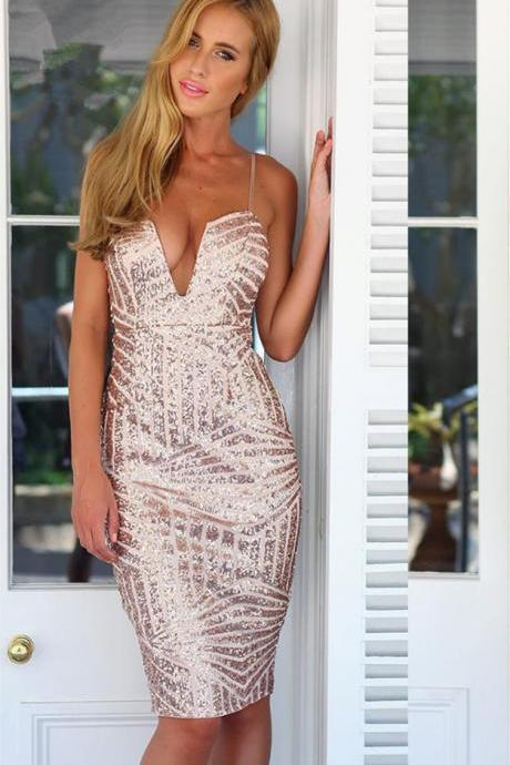 Sheath V-neck Strap Gorgeous Sequined Spaghetti Tight Homecoming Dress
