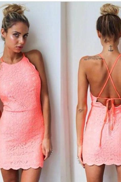 Sheath Pink Halter Round Neck Backless Mini Short Homecoming Dresses