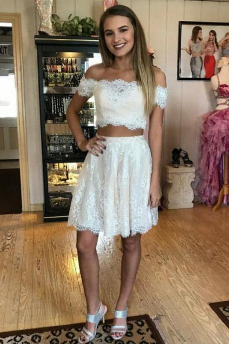 White Two Piece Full Lace Off Shoulder Short Sleeve Homecoming Dress