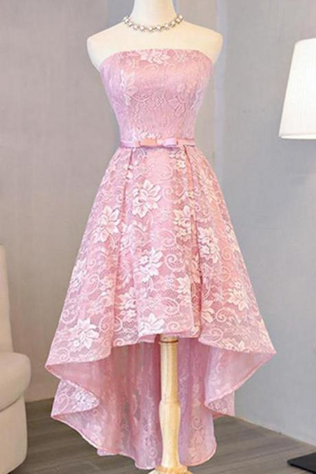 Pink Full Lace Applique Strapless Prom Homecoming Dresses With Bowknot