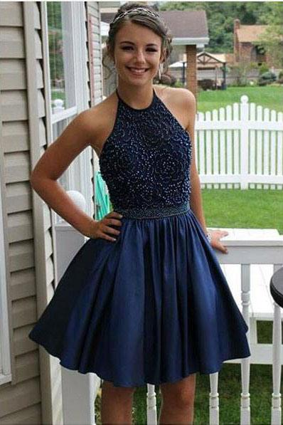 Royal Blue Halter Applique Beaded Prom Short Homecoming Dresses With Bead Belt