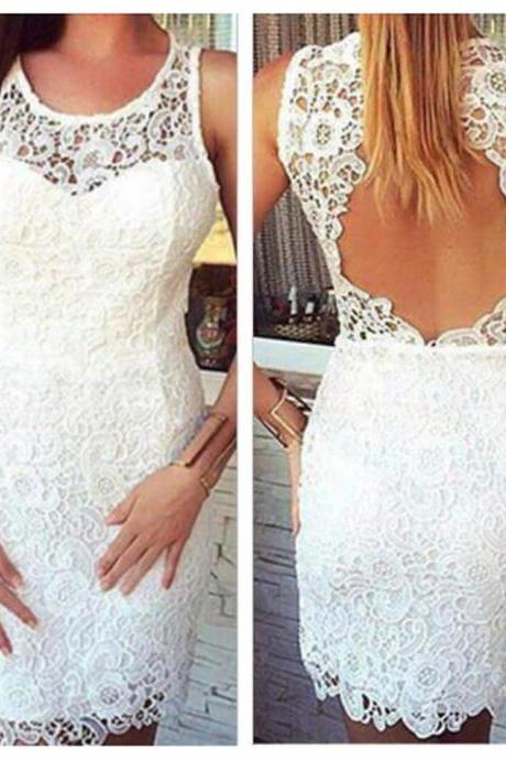 Sheath White Round Neck Lace Backless Short Homecoming Dresses