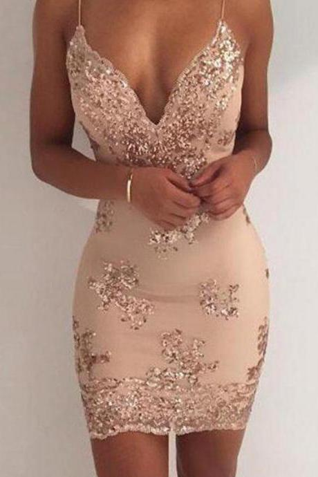 Gold Deep V-neck Straps Short Homecoming Dresses with Sequined
