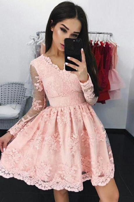Pink Tulle Cocktail Lace V-neck Long Sleeve Applique Homecoming Dresses