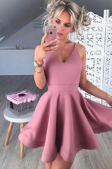 Straps Pink V-neck Pleats Stain Short Homecoming Dresses