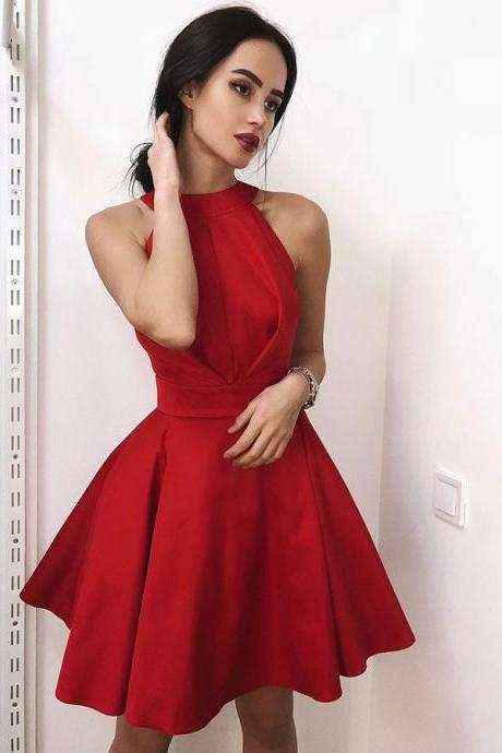 Red Round Neck Backless Homecoming Dresses,Stain Pleated Homecoming Dresses