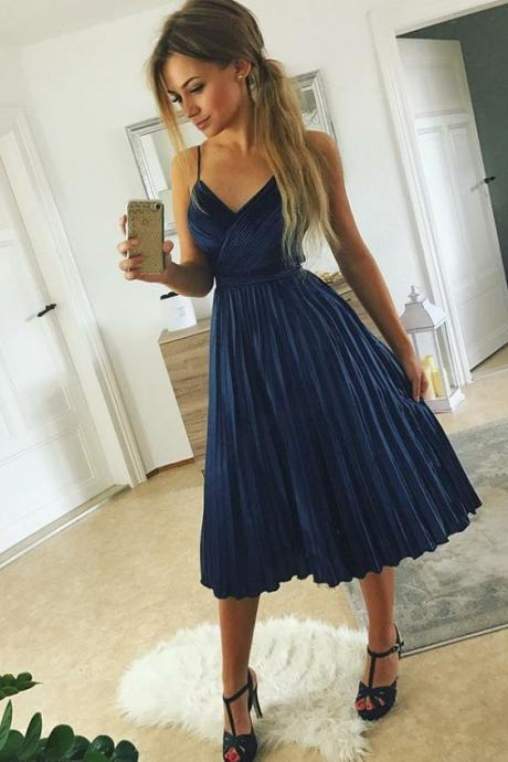 Blue Spaghetti Straps Homecoming Dresses,V-neck Pleated Stain Homecoming Dresses