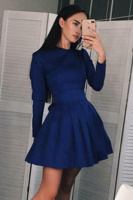 Royal Blue Stain Long Sleeve Pleated Homecoming Dresses