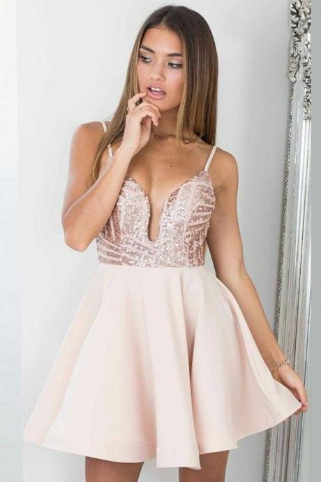 Pearl Pink Spaghetti Straps Backless Sequin Pleated Short Homecoming Dresses