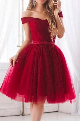 Red Off Shoulder Short Sleeve Tulle Homecoming Dresses With Bowknot