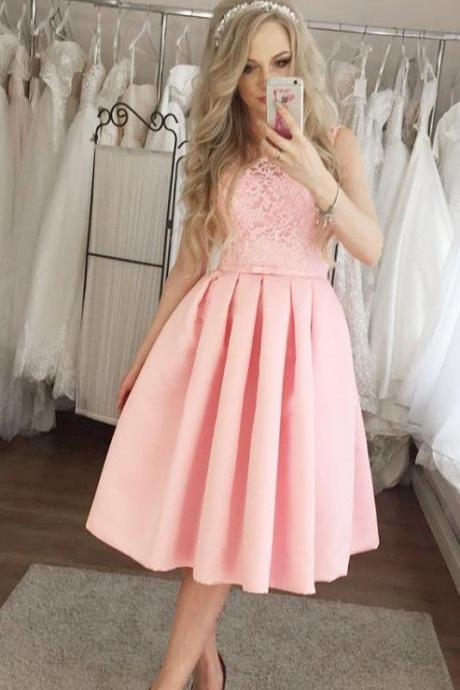 Pink Lace Applique Knee Length Pleated Homecoming Dresses with Bowknot