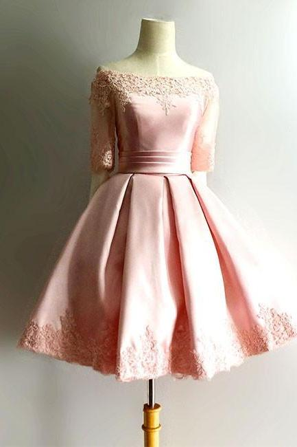 Pink Lace Applique Half Sleeve Off Shoulder Homecoming Dresses