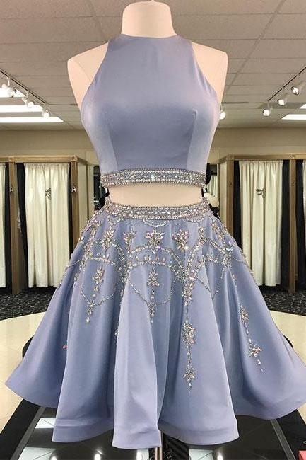 Blue Cute Two Piece Beading Backless Pleated Homecoming Dresses