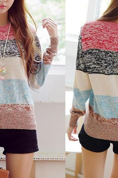 Fashion Women Strips Long Sleeve Sweater