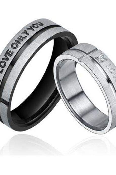 Stainless Steel 'LOVE ONLY YOU' W. Cubic Zirconia Couple Promise Ring