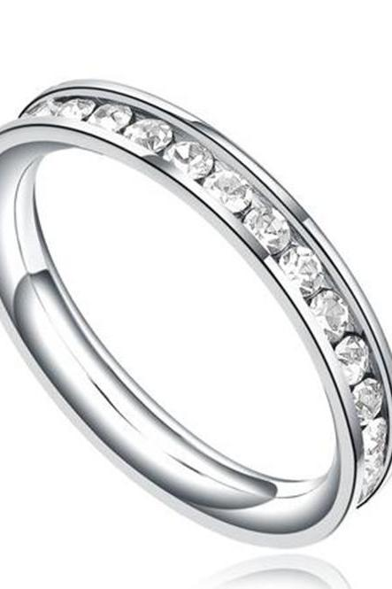 Stainless Steel 3mm Eternity Ring