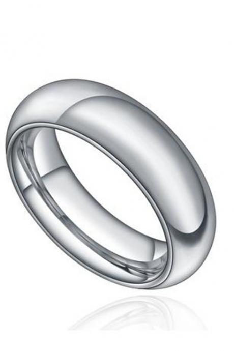 Stainless Steel 6mm Comfort Fit Polished Plain Wedding Band Ring