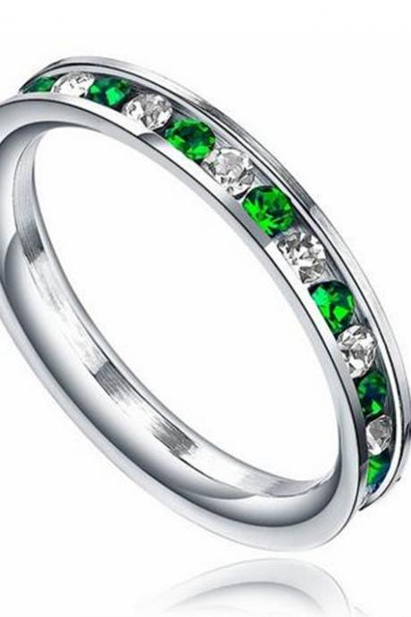 Stainless Steel 3mm Eternity Ring W. Green Ring