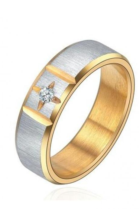 Brushed Finish Two-tone Cubic Zirconia Centered Cross 6mm Wedding Band Unisex Ring